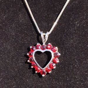 Vintage sterling garnet heart necklace